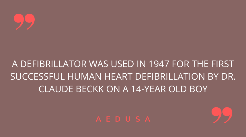 When was a defibrillator first successfully used on a patient