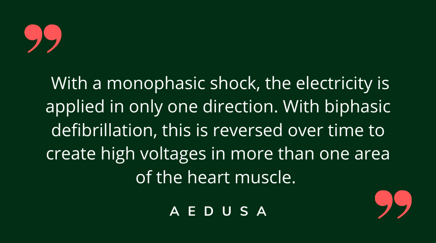 What is the difference between a monophasic and biphasic defibrillator?